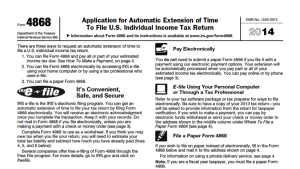 Tax Form 4868 – Automatic Extension